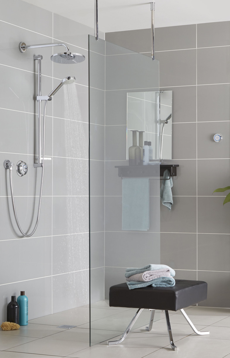 Aqualisa Quartz Smart digital concealed diverter shower with fixed head and riser rail