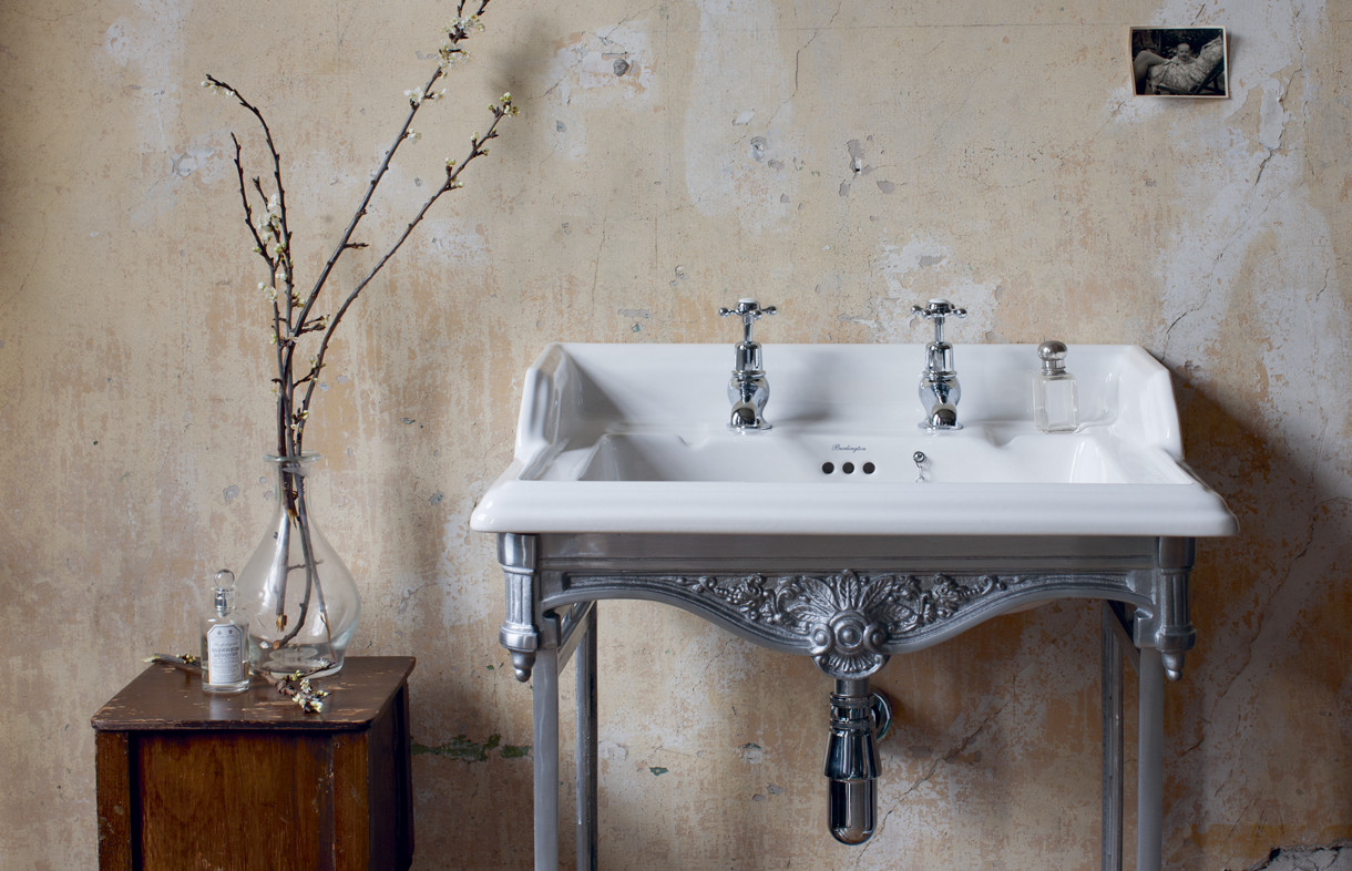 Burlington basin with polished aluminium wash stand