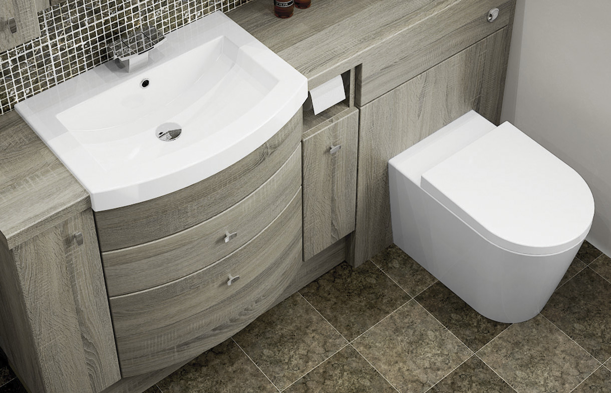 Mallard fitted curved drawer basin unit