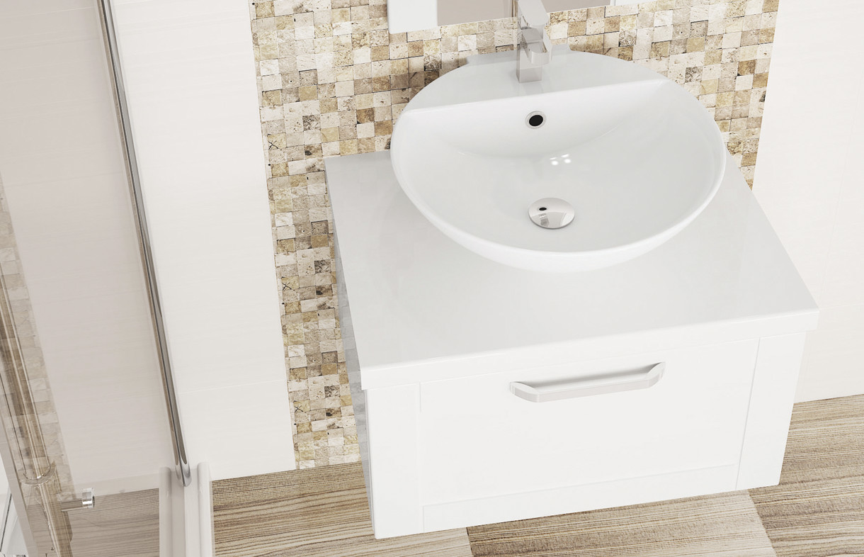 Mallard white gloss deep basin unit