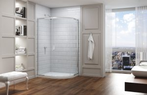 Merlyn series 8 one door offset quadrant enclosure with Mstone tray