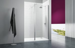 Merlyn series 8 wet wall with swivel deflector and Mstone tray