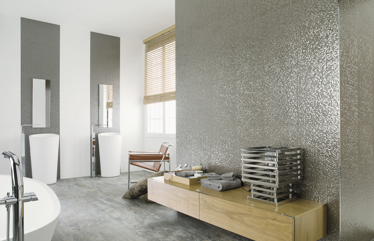 Porcelanosa Cubica silver ceramic wall tiles