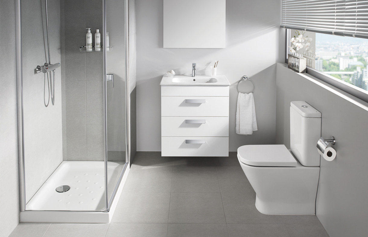 Roca Debba three draw vanity unit and moulded back to wall toilet