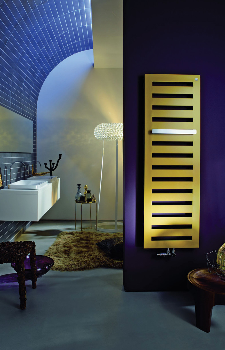 Zehnder Metropolitan gold radiator with optional towel bar