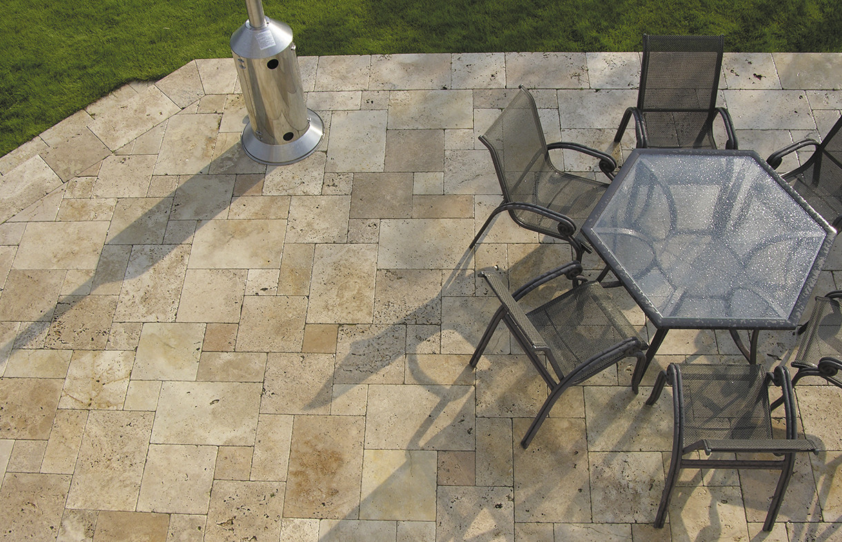 Global Stone travertine paving warm walnut