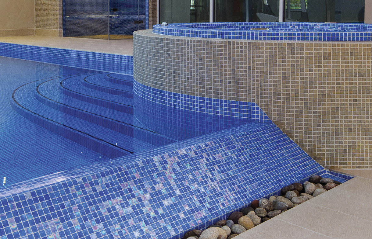 Waxman Cermaics niebla anti-slip mosaic swimming pool tiles