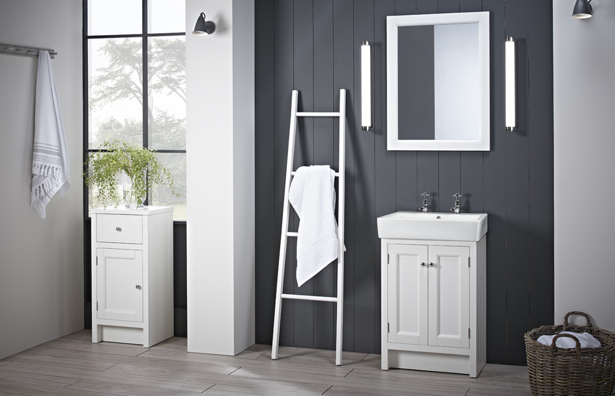 Roper Rhodes Hampton chalk white 2TH basin lights lifestyle