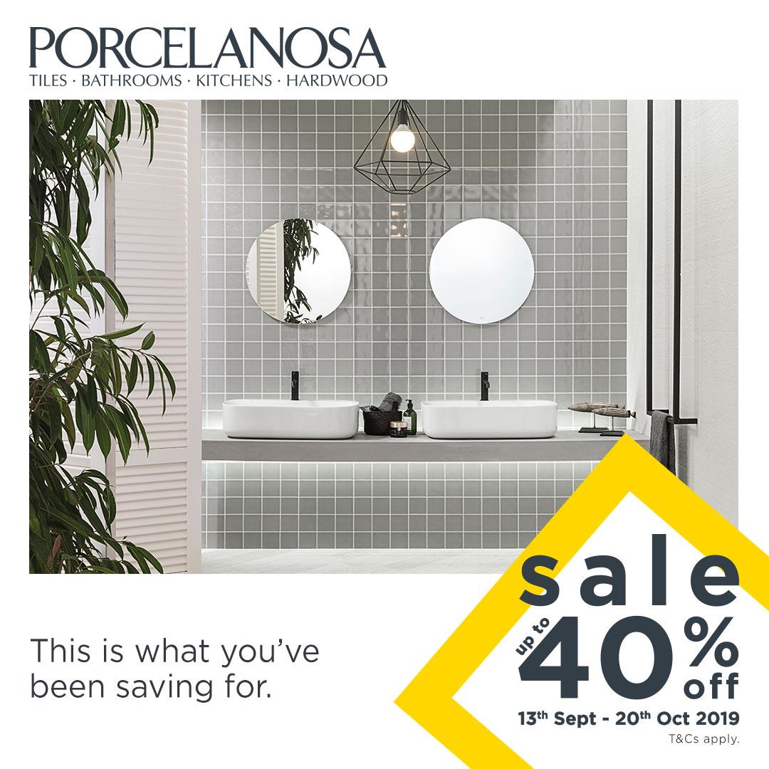 Porcelanosa 40% off sale graphic