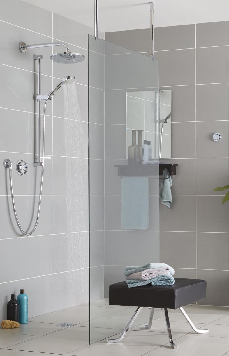 Aqualisa Quartz Smart digital concealed diverter shower with fixed head and riser rail