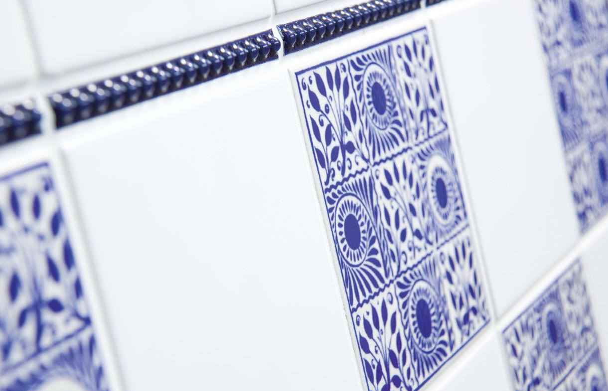 V&A William De Morgan cobalt nine square ceramic wall tile with barley twist feature strip