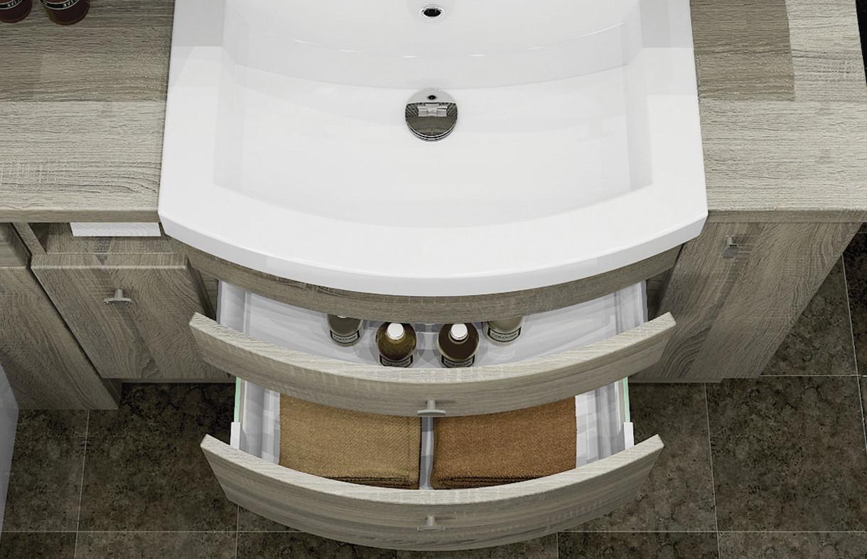 Mallard fitted curved drawer basin unit