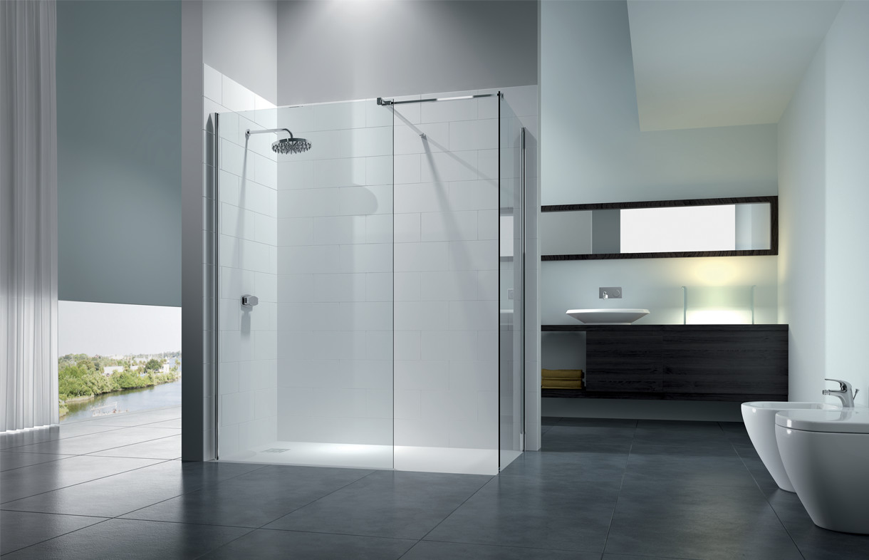 Merlyn series 8 walk in shower enclosure with end panel and level 25 tray