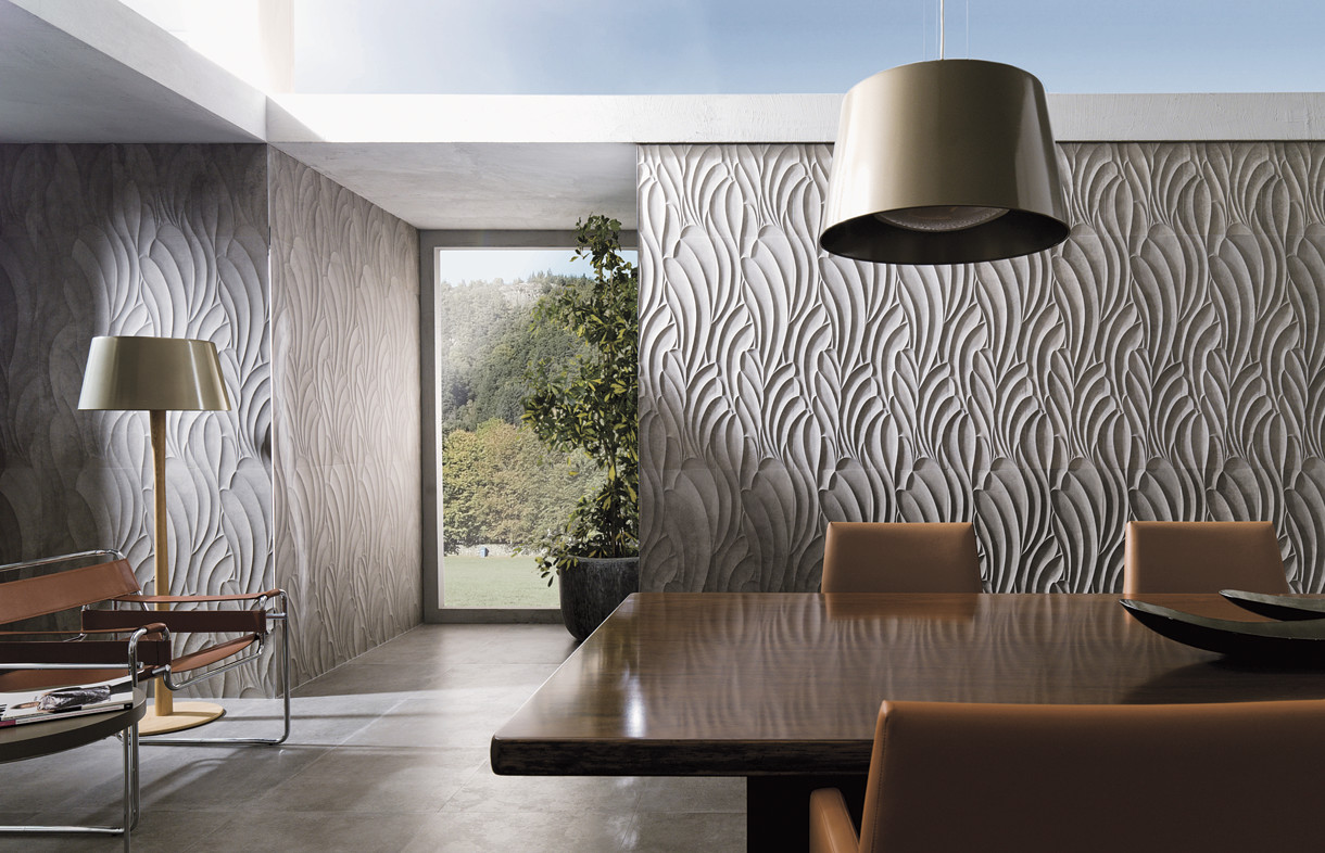 Porcelanosa Seaude taupe ceramic feature tiles