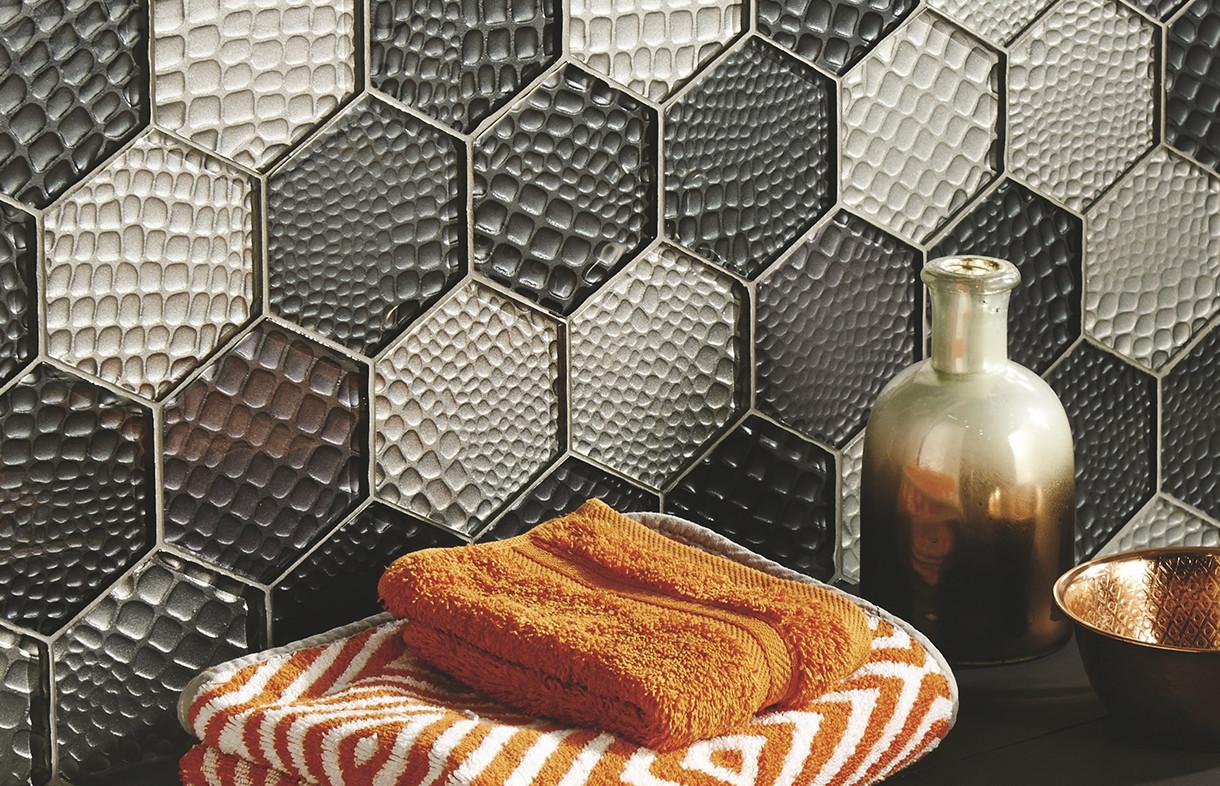 Original Style Glassworks Futura Zirconia hexagon mosaic tiles