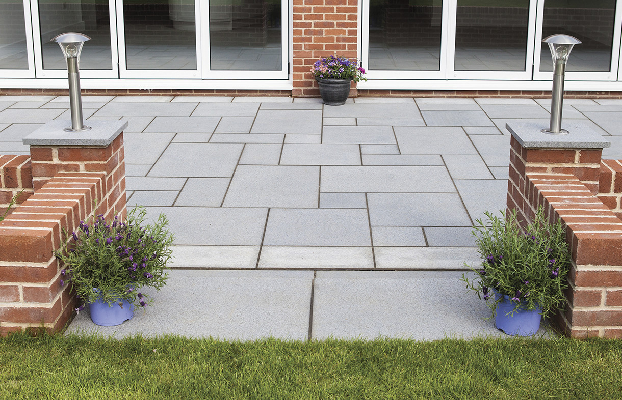 Global Stone granite paving graphite edged with silver-grey